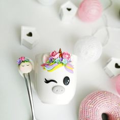 unicorn mug and spoon set cup handmade mug with polymer clay decor spoon is decorated with polymer clay gift to children teaspoon unicorn Cute Polymer Clay, Polymer Clay Charms, Polymer Clay Creations, Diy Clay, Polymer Clay Jewelry, Clay Crafts, Milk Carton Crafts, Coffee Cup Crafts, Clay Cup