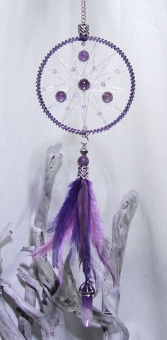 Amethyst Crystal Dream Catcher Wall Hanging by TigerEmporium