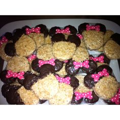 Minnie rice crispies, ears dipped in chocolate with fondant bows :)