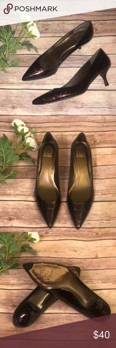 Stuart Weizman kitten heels Stuart Weitzman kitten heel pumps. Brown, bronze black patent print. Heels in EUC. No box Stuart Weitzman Shoes Heels