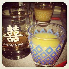 pickled back shots in vintage glass