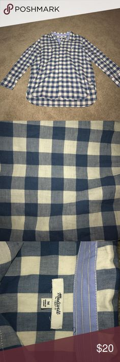 Blue flannel checker pattern, lightly worn, from Madewell Madewell Tops Button Down Shirts