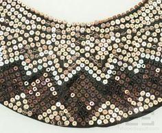 Marni Champagne & Brown Sequined Bib Collar Necklace