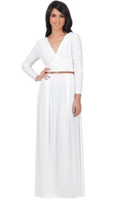 Koh Koh Women's Designer Crossover Wrap Chest Long Sleeve Maxi Dress - X-Small - Off-White Koh Koh,http://www.amazon.com/dp/B00DR72K56/ref=cm_sw_r_pi_dp_WQKftb0PJQK9F15A