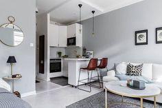 53 ideas apartment living room decor gray sofas for 2019 Home Design, Condo Interior Design, Flat Interior, Home Interior, Modern Small Apartment Design, Design Ideas, Living Room Decor Grey Sofa, Small Living Rooms, Cozy Living