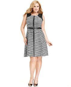 Calvin Klein Plus Size Dress, Sleeveless Printed Faux-Leather A-Line - Plus Size Dresses - Plus Sizes - Macy's