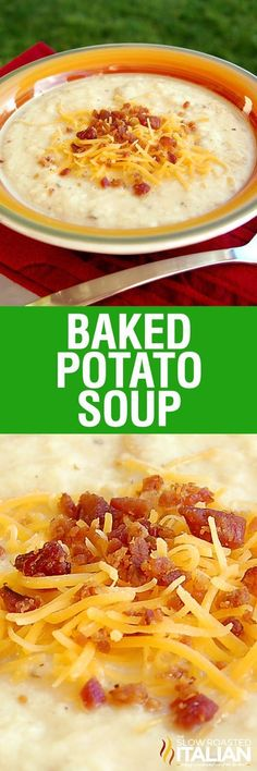 Baked Potato Soup is rich and creamy and has all your favorite potato fixin's cooked right inside this luscious soup. It comes fully loaded with cheese, bacon, and sour cream! This dinner is utterly life changing. This simple recipe is incredibly popular and you are going to love it!: