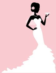 Sassy Bride Martini Silhouette vector art illustration