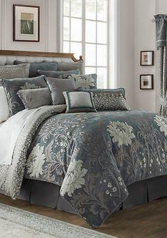 Waterford Linens Waterford® Linens Ansonia Queen Comforter Set in Pewter Luxury Comforter Sets Queen, Grey Comforter Sets, Grey Bedding, Duvet Sets, Floral Comforter, Down Comforter, Boho Bedding, King Bedding Sets, Bedding Shop