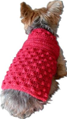 'Raspberry Fool' Crocheted Dog Sweater