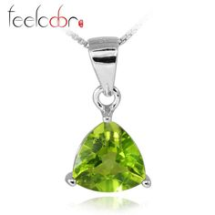 New Trillion 2ct Natural Peridot Pendants For Women 100% Solid 925 Sterling Silver Charms Fine Jewelry Wholesale Promotion