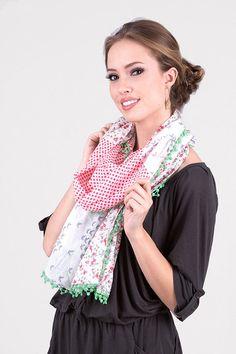 Anika Dali Women's Osaka Floral Polka Birds Fashion Scarf. Trendy Fashion Scarves. Unique Gift Ideas. For Her.