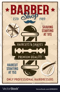 Barber Shop vector price list template Poster Haircut and shave retro barber sign on dark background Poster Poster. Barber Poster, Barber Sign, Barber Shop Vintage, Barber Shop Decor, Album Design, Logo Barbier, Barber Tattoo, Healthy Work Snacks, Dinners For Kids