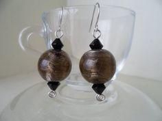 Original black foil glass drop earrings by tcupcreations on Etsy, $15.00