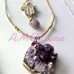 Druze amatist necklace With hamsa Mexican Design, Estilo Boho, Hamsa, Boho Jewelry, Boho Fashion, Charmed, Boho Style, Bracelets, How To Make