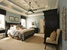Dark furniture + blue-gray walls