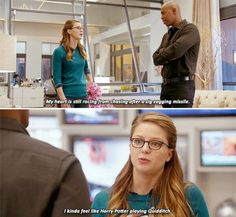 """""""My heart is still Racing from chasing after a zig zagging missile"""" - Kara and James #Supergirl                                                                                                                                                     More"""