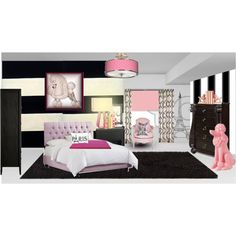 Tween Poodles in Paris Bedroom, created by tanyaf1 on Polyvore
