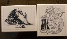 WIZARDS AND DRAGONS Lot of 2 New Mounted Rubber Art Stamps