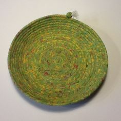 Green Yellow and Red Batik Shallow Coiled Rope by Clothstitched