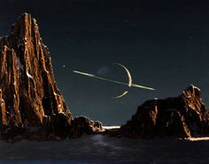 Saturn As Seen From Titan (1944), by Chelsey Bonestell