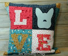 Puppy Love Pillow - Pattern Available on Craftsy - Designed by Sew Incredibly Crazy Heart Pillow, Your Heart, Puppy Love, Dog Cat, Applique, Quilting, Puppies, Blanket, Pillows