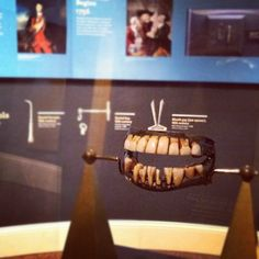 Dentures owned and worn by George Washington. Lead base fitted with cow teeth, and teeth made from elephant ivory. Currently on display at the Missouri History Museum.