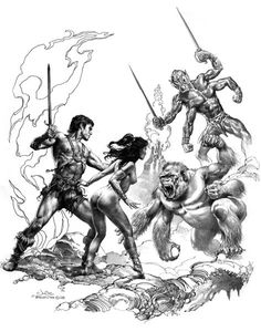 Famed illustration team Julie Bell and Boris Vallejo have created this awesome image from Edgar Rice Burroughs' pre-golden age novels about swashbuckling hero John Carter's adventures on Mars. Julie Bell, Boris Vallejo, A Princess Of Mars, John Carter Of Mars, Sword And Sorcery, Fantastic Art, Comic Artist, Fantasy Creatures, Architecture Art