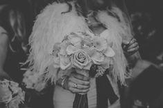 Winter wedding Jenny Packham Santorini Ostrich Feathers