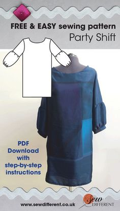 Free sewing pattern for women from Sew Different. The Party Shift Dress is softly fitted, finishing just above the knee with cute bubble sleeves. Easy to make with instructions on how to put it together and advice about fabrics. Happy sewing!