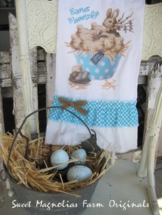 "Easter Flour Sack Kitchen Towel ""Easter Blessings"" Chicks and Bunny in mixing bowl by SweetMagnoliasFarm, $18.25"