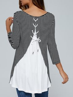 Striped Lace-Up Back Loose Fitting Blouse in Stripe | Sammydress.com