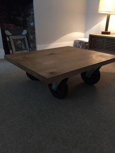 Solid Oak Coffee Table On Wheels Vintage Industrial
