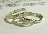 learn to make simple band-style stack rings using half-round wire, easy! then texture them all kinds of ways for variety... by Tammy Jones