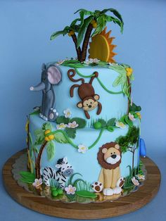 Zoo Animals Birthday Cake Animal Safari Theme Baby Shower First Birthday Edible Zoo Animal Cake Toppers Jungle Theme Cakes, Jungle Theme Birthday, Safari Cakes, Jungle Safari Cake, Jungle Cupcakes, Animal Themed Birthday Party, Baby Cakes, Baby Shower Cakes, Cupcake Cakes
