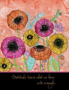 Sketchbook Garden Poppies matted print by CarolineSimasStudio