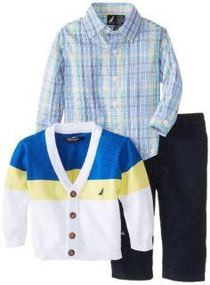 Nautica Baby-Boys Infant 3 Piece Colorblock Sweater Shirt Pant Set, White, 18 Months Nautica To see or buy click on Amazon here http://www.amazon.com/dp/B00HYRI766/ref=cm_sw_r_pi_dp_Fa3Jtb0JA9PWS75V