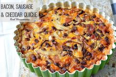 Bacon, Sausage & Cheddar Quiche is the perfect breakfast for a lazy weekend at home, entertaining guests or a make ahead breakfast for busy week day mornings!
