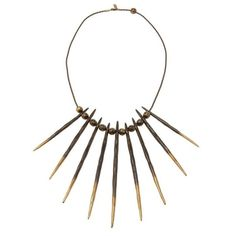 PAMELA LOVE Antique bronze porcupine needle necklace ($1,060) ❤ liked on Polyvore featuring jewelry, necklaces, accessories, women, brown necklace, chains jewelry, graduation necklace, beading necklaces and antique jewelry