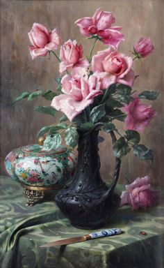 Pascal de Beucker (1881-1944)   — Still Life with Roses and Porcelain vase Canton, 1909   (614x1000)