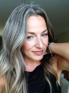 55 inspiring women who stopped dyeing their hair and showed everyone how to own their grey Hair inspiration – Hair Models-Hair Styles Grey Hair Don't Care, Long Gray Hair, Silver Grey Hair, White Hair, Hair Care, Grey Hair Young, Frosted Hair, Gray Hair Highlights, Grey Hair Inspiration