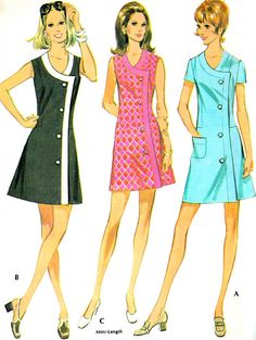 Vintage Sewing Pattern McCall's 2393 Mod Front Wrap by paneenjerez, $14.00