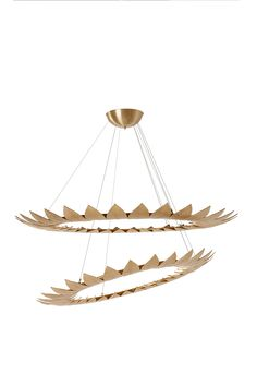 Leaf | Suspension Lamp | The Leaf series is involved in a golden frame, made from leaves molded in brass casting, resembling a sumptuous crown. http://www.gingerandjagger.com/EN/collection/earth-to-earth/leaf--suspension-lamp/