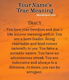 Name true meaning of Tracy