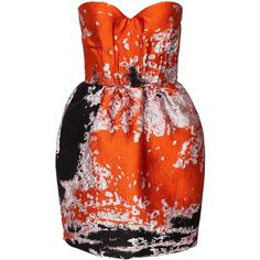 Msgm Mda139 144826 Dress ($905) ❤ liked on Polyvore featuring dresses, orange, party dresses, womens-fashion, ruching dress, red ruched dress, gathered dress, print dress and bandeau tops