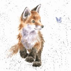 Artistic Greeting Card - Blank/Birthday - Born To Be Wild - Fox - Country Set Collection - Hannah Dale Cute Animal Drawings, Animal Sketches, Cute Drawings, Cute Fox Drawing, Animal Illustrations, Fox Painting, Butterfly Painting, Wrendale Designs, Pics Art