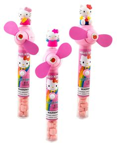 Hello Kitty Fan with Candy - Includes (1) themed fan with candy. Please Note: Candy is manufactured in a facility that processes peanuts, almonds, hazelnuts, walnuts, milk and soy. This is an officially licensed Hello Kitty product.