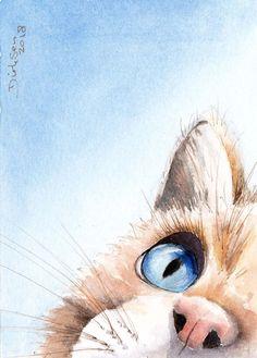 Aquarell - New Sites Watercolor Cat, Watercolor Animals, Watercolor Illustration, Watercolor Paintings, Simple Watercolor, Watercolor Trees, Tattoo Watercolor, Watercolor Background, Watercolor Landscape