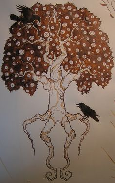 Yggdrasil, the world tree. Been wanting to find a good design to get tattooed, not the biggest fan of the leaves but it's in the direction I want, especially with Hugin and Munin.