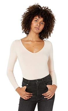 The Drop Women's Patricia Long-Sleeve Deep V-Neck Fitted Bodysuit Better Length, Staple Pieces, Layered Look, Second Skin, Bodysuit, V Neck, Long Sleeve, Fitness, Drop